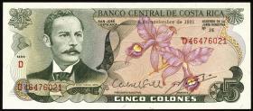 Costa Rica P.236d 5 Colones 1977-1989  (1)