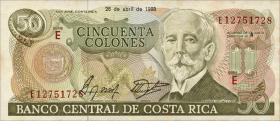 Costa Rica P.253 50 Colones 1988 (1-)