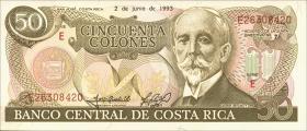 Costa Rica P.257 50 Colones 1993 (1)