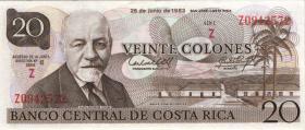 Costa Rica P.252 20 Colones 1983 Tyvek (Plastiknote) (1)