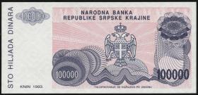 Kroatien Serb. Krajina / Croatia P.R22 100.000 Dinara 1993 ohne Nummer (1)