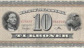 Dänemark / Denmark P.44d 10 Kronen 1954 (2+)
