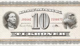 Dänemark / Denmark P.44w 10 Kronen 1964 Prefix J0 (1)