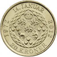 Dänemark 20 Kroner 2012 Thronjubiläum Margrethe II.