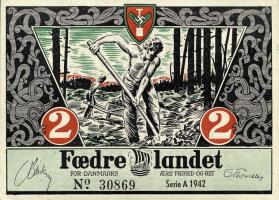 Dänemark / Denmark 2 Kroner 1942 Propagandaschein (1)