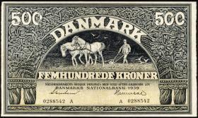 Dänemark / Denmark P.34a 500 Kroner 1939 (2)