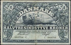 Dänemark / Denmark P.32b 50 Kroner 1939 (3-)