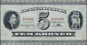 Dänemark / Denmark P.42k 5 Kronen 1956 (3)