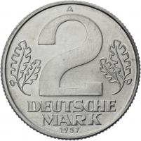 DDR 2 Deutsche Mark (Alu) prfr. 1957