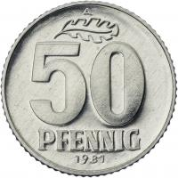 DDR 50 Pfennig (Alu) Exportqualität (stgl)