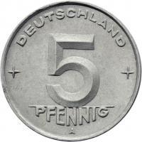 DDR 5 Pfennig (Alu) RS Zahnrad f.stgl