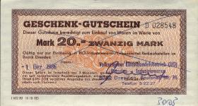 DDR HO Gutschein 20 Mark (1-)