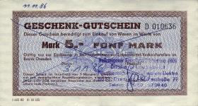 DDR HO Gutschein 5 Mark (1-)