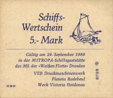 """DDR Schiffs-Wertschein 5 Mark """"Weiße Flotte"""" (1)"""