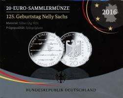 Deutschland 20 Euro 2016 Nelly Sachs PP
