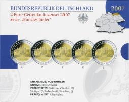 Deutschland 2-Euro-Gedenkmünzset 2007 Mecklenburg-Vorpommern (Schweriner Schloß) PP