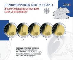 Deutschland 2-Euro-Gedenkmünzset 2008 Hamburg (Hamburg St. Michaelis) PP