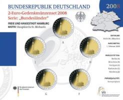 Deutschland 2-Euro-Gedenkmünzset 2008 Hamburg (Hamburg St. Michaelis) stg