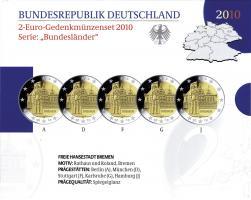 Deutschland 2-Euro-Gedenkmünzset 2010 Bremen (Bremer Rathaus mit Roland) PP
