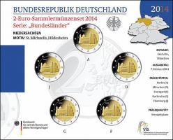 Deutschland 2-Euro-Sammlermünzenset 2014 Niedersachsen (St. Michael in Hildesheim) stg