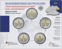 Deutschland 2-Euro-Set 2016 Sachsen stg