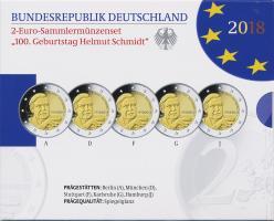 Deutschland 2-Euro-Set 2018 Helmut Schmidt PP