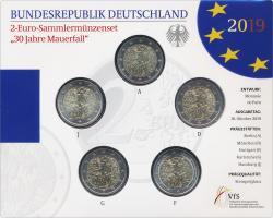 Deutschland 2-Euro-Gedenkmünzset 2019 30 Jahre Mauerfall stg