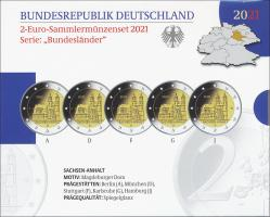 Deutschland 2-Euro-Sammlermünzenset 2021 Sachsen-Anhalt (Magdeburger Dom) PP