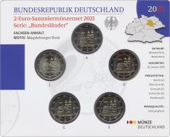 Deutschland 2-Euro-Sammlermünzenset 2021 Sachsen-Anhalt (Magdeburger Dom) stg