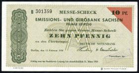 Leipziger Messe Scheck 10 Pfennig 1950 Muster (1/1-)