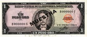Dom. Republik/Dominican Republic P.099s3 1 Peso Oro (1964-73) Specimen (1)