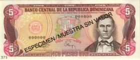 Dom. Republik/Dominican Republic P.143s 5 Pesos Oro 1993 Specimen (1)