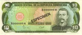Dom. Republik/Dominican Republic P.119s1 10 Pesos Oro 1982 Specimen (1)