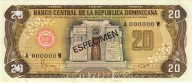 Dom. Republik/Dominican Republic P.120s1 20 Pesos Oro 1978 Specimen (1)