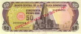 Dom. Republik/Dominican Republic P.127s 50 Pesos Oro 1988 Specimen (1)