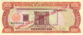 Dom. Republik/Dominican Republic P.128s1 100 Pesos Oro 1988 Specimen (1)