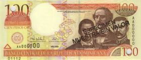 Dom. Republik/Dominican Republic P.167s1 100 Pesos Oro 2000 Specimen (1)