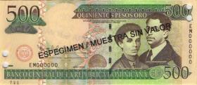 Dom. Republik/Dominican Republic P.172s3 500 Pesos Oro 2004 SPECIMEN (1)
