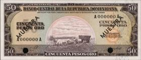 Dom. Republik/Dominican Republic P.103s2 50 Pesos Oro (1964-74)