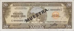 Dom. Republik/Dominican Republic P.102s1 20 Pesos Oro (1964-74) (1)