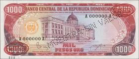 Dom. Republik/Dominican Republic P.124s2 1000 Pesos Oro 1985 Specimen (1)