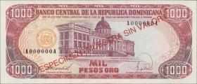 Dom. Republik/Dominican Republic P.130s1 1000 Pesos Oro 1988 Specimen (1)