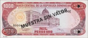 Dom. Republik/Dominican Republic P.138s3 1000 Pesos Oro 1994 Specimen (1)