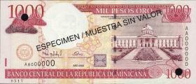 Dom. Republik/Dominican Republic P.163s 1000 Pesos Oro 2000