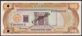 Dom. Republik/Dominican Republic P.122s1 100 Pesos Oro 1980
