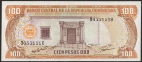 Dom. Republik/Dominican Republic P.136a 100 Pesos Oro 1991