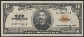 Dom. Republik/Dominican Republic P.069 10 Pesos Oro 1952