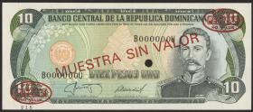 Dom. Republik/Dominican Republic P.119s2 10 Pesos Oro 1985-87