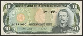Dom. Republik/Dominican Republic P.119c 10 Pesos Oro 1988