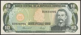 Dom. Republik/Dominican Republic P.119c 10 Pesos Oro 1988